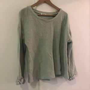 LA Made Mint Sweater With Rolled Cuffs
